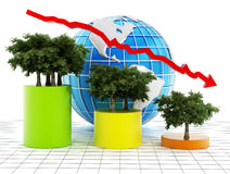 Graphic showing the decrease of tree population on earth. Stock Image
