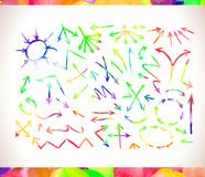 Graphic signs colorful watercolor arrows Royalty Free Stock Photos