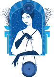 Graphic silhouette of a art deco woman Stock Photography