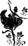 Graphic silhouette of a ballerina woman. Isabelle series. Graphic silhouette of a woman. Ballerina with floral ornament