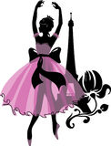 Graphic silhouette of a ballerina woman. Isabelle series Royalty Free Stock Photo