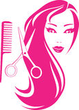 Beautiful girl with scissors and comb Stock Photography