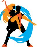Graphic silhouette dancers. Vector isolated illustration Stock Photography