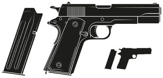 Free Graphic Silhouette Handgun Pistol With Ammo Clip Royalty Free Stock Images - 141209279