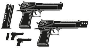 Free Graphic Silhouette Handgun Pistol With Ammo Clip Royalty Free Stock Photo - 141209335