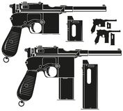 Graphic silhouette old pistol with ammo clip. Graphic black and white detailed silhouette old retro handgun pistol with ammo clip. Isolated on white background royalty free illustration
