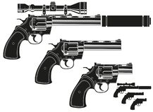Graphic silhouette revolver with optical sight. Graphic black and white detailed silhouette revolver with optical sight and silencer. Isolated on white royalty free illustration