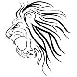 Graphic silhouette roaring lion Royalty Free Stock Image