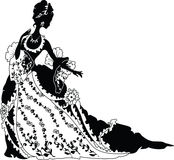Graphic silhouette of a rococo woman royalty free illustration