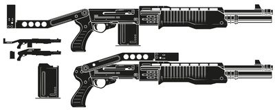 Graphic silhouette shotgun rifle with ammo clip. Graphic black and white detailed silhouette pump action shotgun rifle with ammo clip and butt. Isolated on white stock illustration