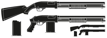 Graphic silhouette shotgun rifle with ammo clip. Graphic black and white detailed silhouette pump action shotgun rifle with ammo clip and butt. Isolated on white vector illustration