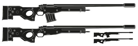 Graphic silhouette sniper rifle with ammo clip. Graphic black and white detailed silhouette sniper rifle with ammo clip and silencer. Isolated on white vector illustration