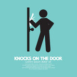 Graphic Of Single Man Knocks on The Door Royalty Free Stock Image