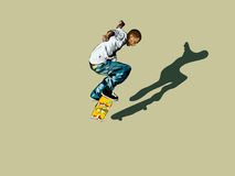 Graphic of skateboarder. Graphic of male on skateboard soaring through air Stock Photos