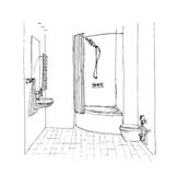 Graphic sketch a bathroom Stock Photography