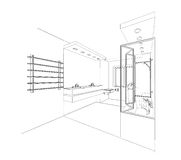 Graphic sketch a bathroom Royalty Free Stock Images