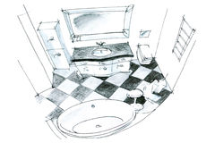 Graphic sketch of a bathroom Stock Photography