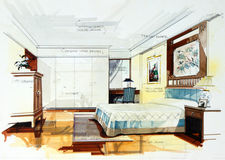 Graphic sketch of bedroom Stock Images