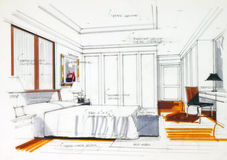 Graphic sketch an bedroom Royalty Free Stock Photo