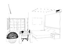Graphic sketch an bedroom Stock Photography