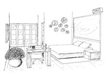 Graphic sketch an bedroom Stock Images