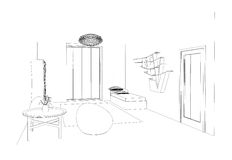 Graphic sketch an bedroom Royalty Free Stock Images