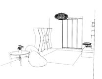 Graphic sketch an bedroom Stock Image