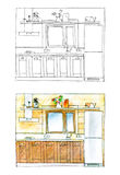 Graphic sketch and color version of a kitchen royalty free illustration