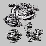 Graphic sketch cups, saucers and cakes. Graphic sketch of still life with cups, saucers and cakes stock illustration