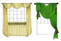 Graphic sketch, drapery, curtain Stock Photo