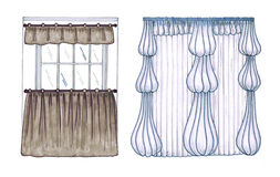 Graphic sketch, drapery, curtain Stock Images