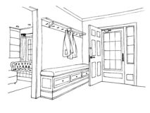 The graphic sketch hall in the house royalty free stock images