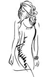 Graphic, sketch hand drawing. Sexy woman pose Royalty Free Stock Photo