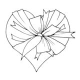 Graphic sketch, heart with a big bow royalty free stock images