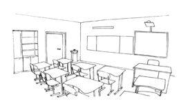 Graphic sketch of an interior classroom stock photography