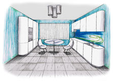 Graphic sketch an kitchen Royalty Free Stock Images