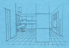 Graphic sketch an kitchen Royalty Free Stock Photography