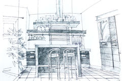 Graphic sketch of kitchen Stock Image