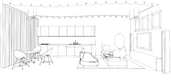 Graphic sketch. A living room Royalty Free Stock Photography