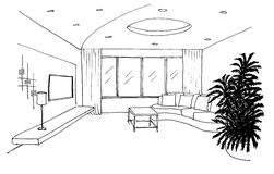Graphic sketch, living room Stock Photos