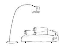Graphic sketch, living room Stock Photo