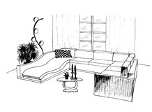 Graphic sketch, living room Royalty Free Stock Image
