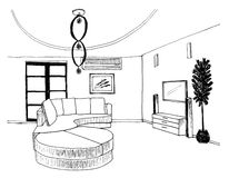 Graphic sketch, living room Royalty Free Stock Photography