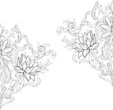 Graphic sketch of lotuses in ornament on a white background. Stock Image