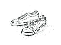 Graphic sketch of pair teenage gym shoes Royalty Free Stock Images