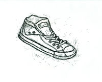 Graphic sketch of pair teenage gym shoes Stock Photography