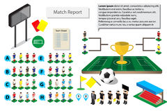 Graphic soccer football icon for match report. Road to final Stock Images