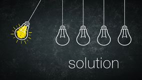 Solution. Graphic: solution - light bulbs and text on a chalkboard stock illustration