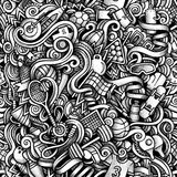 Graphic Sport hand drawn artistic doodles seamless pattern. Mono. Chrome, detailed, with lots of objects raster background Royalty Free Stock Image