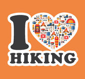 Graphic sticker I love hiking. Hiking and camping equipment Stock Images